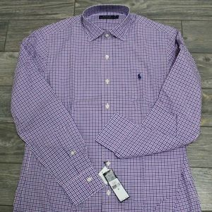 $98 Polo Ralph Lauren Dress Shirt Blue Purple M